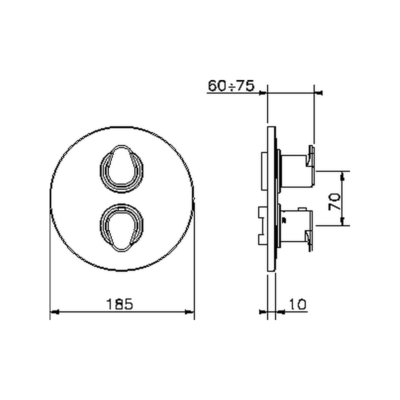 Cisal Alma Sichtteil  3 Wege Brause-Thermostatmischer