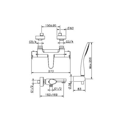Cisal Alma Wanne-Thermostatmischer mit Brauseset