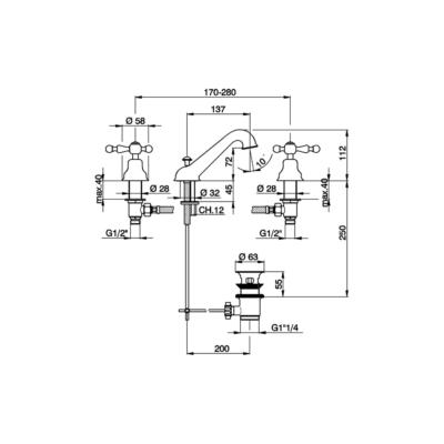 Cisal Arcana America 3-Loch Waschtischbatterie