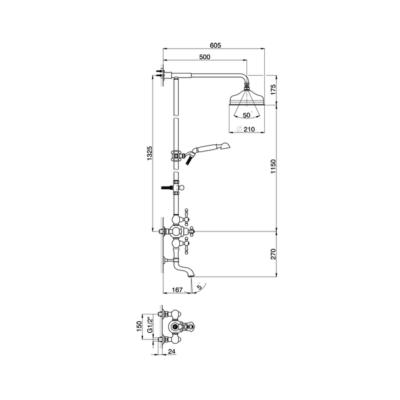 Cisal Arcana America 3-Funktionen Thermostatmischer-Brauseset