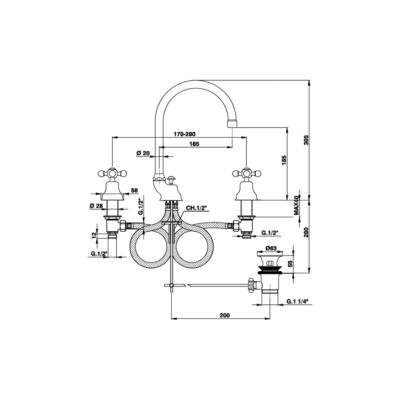 Cisal Arcana Ceram 3-Loch Waschtischbatterie