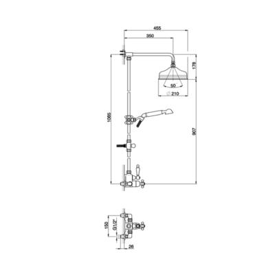 Cisal Arcana Ceram 2-Funktionen Thermostatmischer-Brauseset