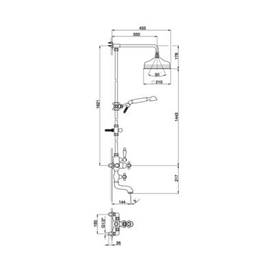Cisal Arcana Ceram 3-Funktionen Thermostatmischer-Brauseset