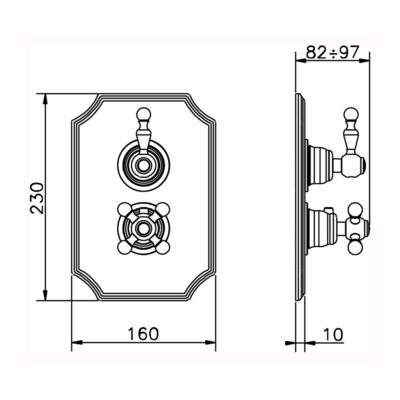 Cisal Arcana Ceram Sichtteile Unterputz Brause-Thermostatmischer