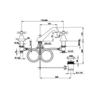 Cisal Arcana 3-Loch Waschtischbatterie