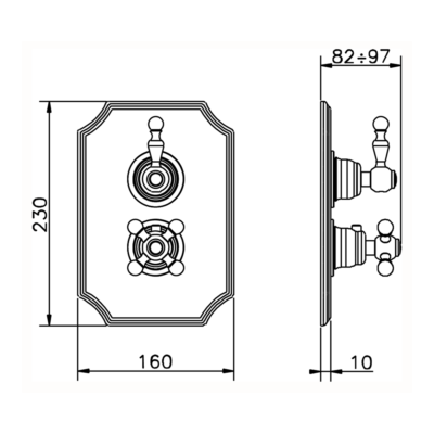 Cisal Arcana Royal Sichtteil 2 Wege Unterputz-Brause-Thermostatmischer