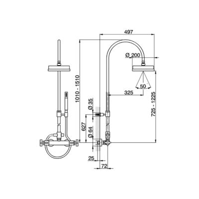 Cisal Barcelona 2-Funktionen Thermostatmischer-Brauseset