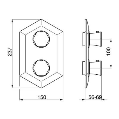 Cisal Cherie Sichtteil 2 Wege Unterputz-Brause-Thermostatmischer