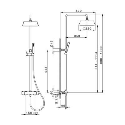 Cisal Cherie 2-Funktionen Thermostatmischer-Brauseset