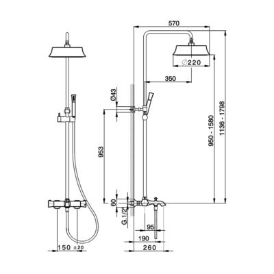 Cisal Cherie 3-Funktionen Thermostatmischer-Brauseset