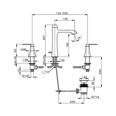 Cisal Cherie 3-Loch Waschtischbatterie