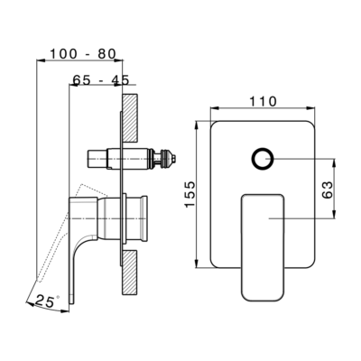 Cisal Cubic Sichtteil Unterputz Wanne/Brause-Einhandmischer