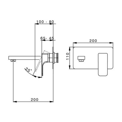 Cisal Cubic Sichtteil Unterputz Einhand-Waschtischmischer