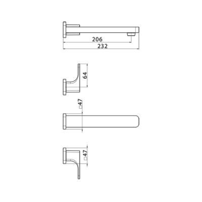 Cisal Cubic Sichtteil Unterputz Waschtischbatterie