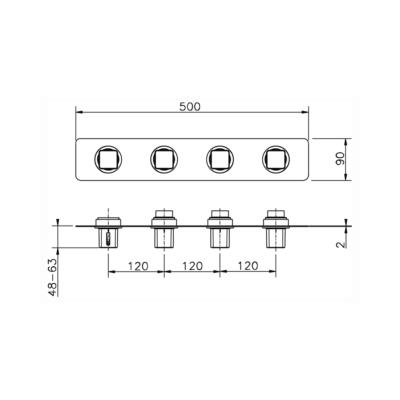 Cisal Cubic Fertigteilset Unterputz Brause-Themostat. 3 Funktionen