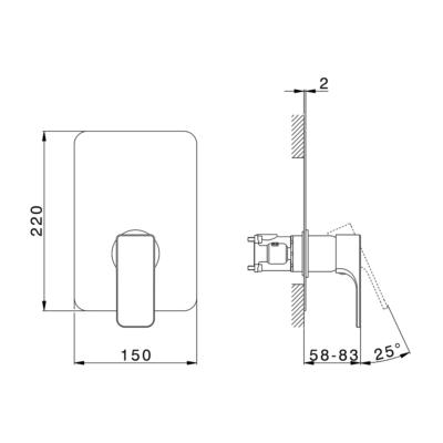 Cisal Cubic Fertigsteilset  für One Box Einhebelmischer