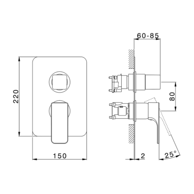 Cisal Cubic Fertigsteilset One Box Einhebelmischer