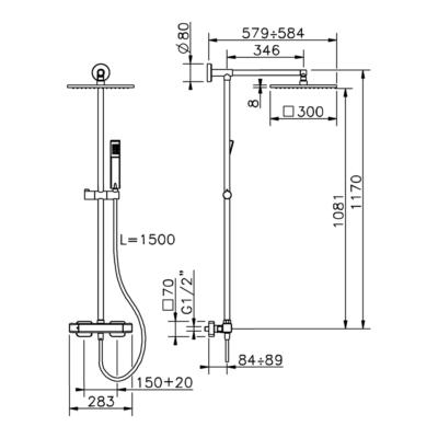 Cisal Cubic 2-Funktionen Thermostatmischer-Brauseset
