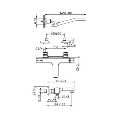 Cisal Cubic Wanne-Thermostatmischer mit Brauseset