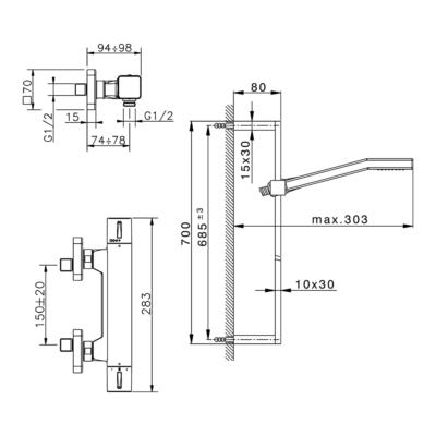 Cisal Cubic Brause-Thermostatmischer mit Brausestange