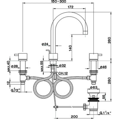Cisal Nuova Less 3-Loch Waschtischbatterie