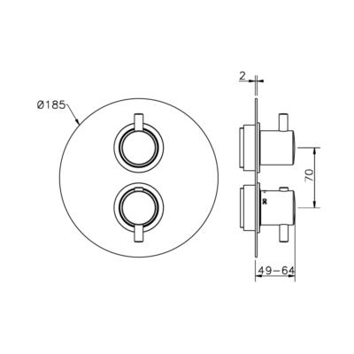Cisal Nuova Less Sichtteil 2 Wege Unterputz-Brause-Thermostatmischer