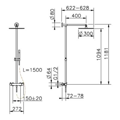 Cisal Nuova Less 2-Funktionen Thermostatmischer-Brauseset