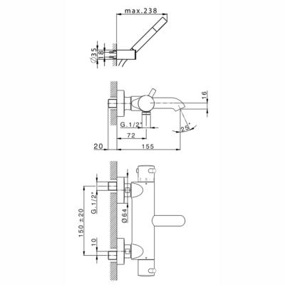 Cisal Nuova Less Wanne-Thermostatmischer mit Brauseset