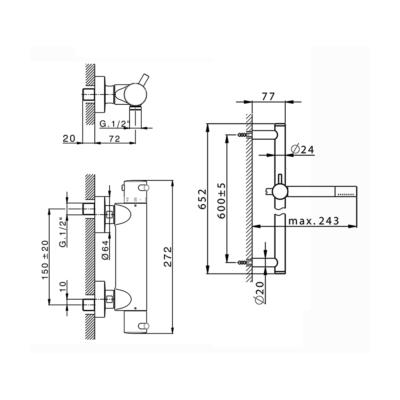 Cisal Nuova Less Brause-Thermostatmischer mit Brausestange