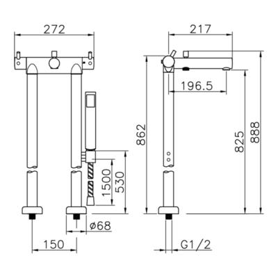 Cisal Nuova Less Wannen-Thermostat-Set bodenstehend