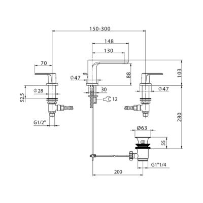 Cisal Lineaviva 3-Loch Waschtischbatterie