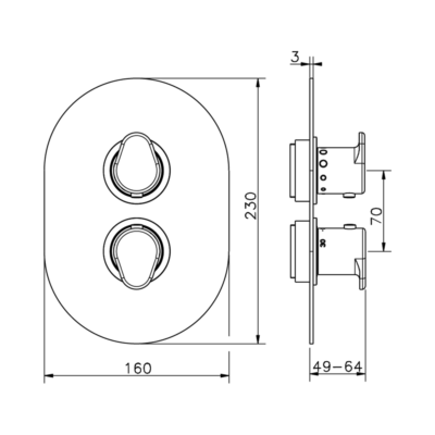 Cisal Lineaviva Sichtteile Unterputz Brause-Thermostatmischer
