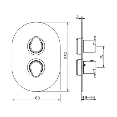 Cisal Lineaviva Sichtteil  3 Wege Brause-Thermostatmischer