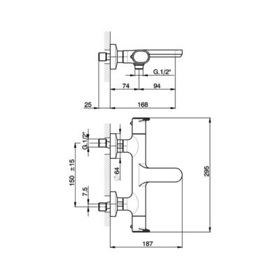 Cisal Lineaviva Wanne-Thermostatmischer