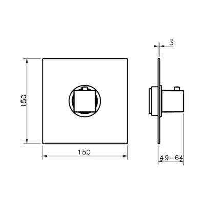 Cisal Roadster Accent Sichtteil Unterputz Brause-Thermostatmischer