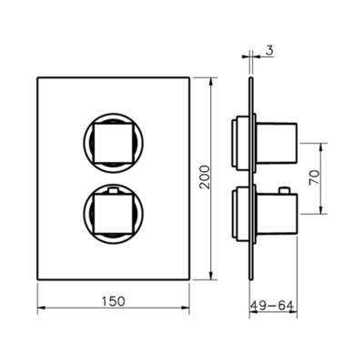 Cisal Roadster Accent Sichtteil  3 Wege Brause-Thermostatmischer