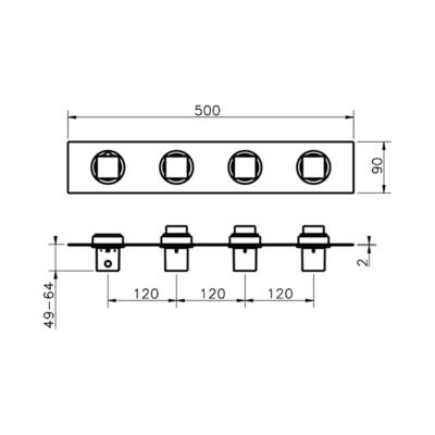 Cisal Roadster Accent Fertigteilset Unterputz Brause-Themostat. 3 Funktionen