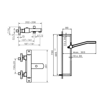 Cisal Roadster Accent Brause-Thermostatmischer mit Brausestange