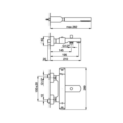 Cisal Roadster Wanne-Thermostatmischer mit Brauseset