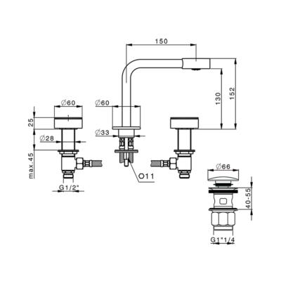 Cisal Slim 3-Loch Waschtischbatterie