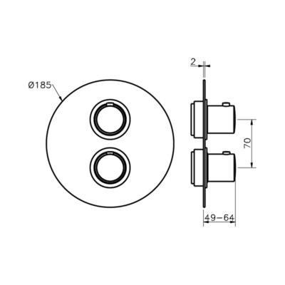 Cisal Slim Sichtteil  3 Wege Brause-Thermostatmischer