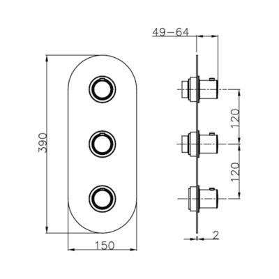 Cisal Slim Fertigteilset Unterputz Brause-Themostat. 2 Funktionen
