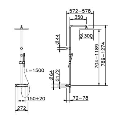Cisal Slim 2-Funktionen Thermostatmischer-Brauseset