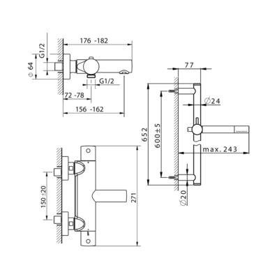 Cisal Slim Brause-Thermostatmischer mit Brausestange