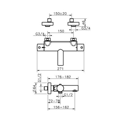 Cisal Slim Wanne-Thermostatmischer