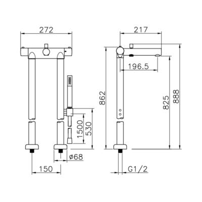 Cisal Slim Wannen-Thermostat-Set bodenstehend