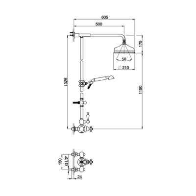 Cisal Arcana Toscana 2-Funktionen Thermostatmischer-Brauseset