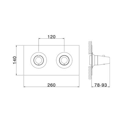 Cisal Vita Sichtteil 2 Wege Unterputz-Brause-Thermostatmischer