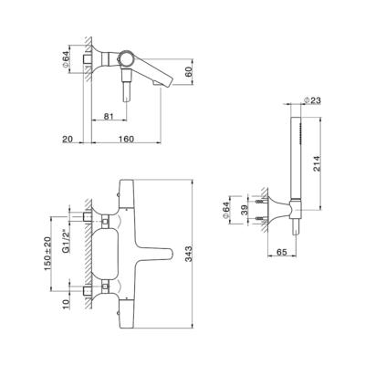 Cisal Vita Wanne-Thermostatmischer mit Brauseset