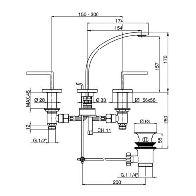 Cisal Wave 3-Loch Waschtischbatterie